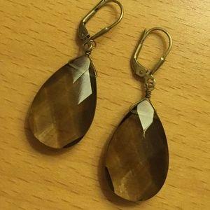 Smoky Quartz Tear Drop Earrings